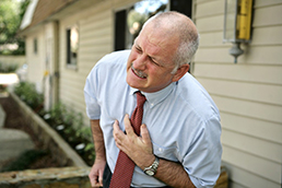 Old man having chest pains