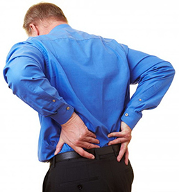 Male dealing with back pain